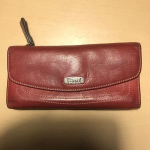FOSSIL Red Genuine Leather Wallet